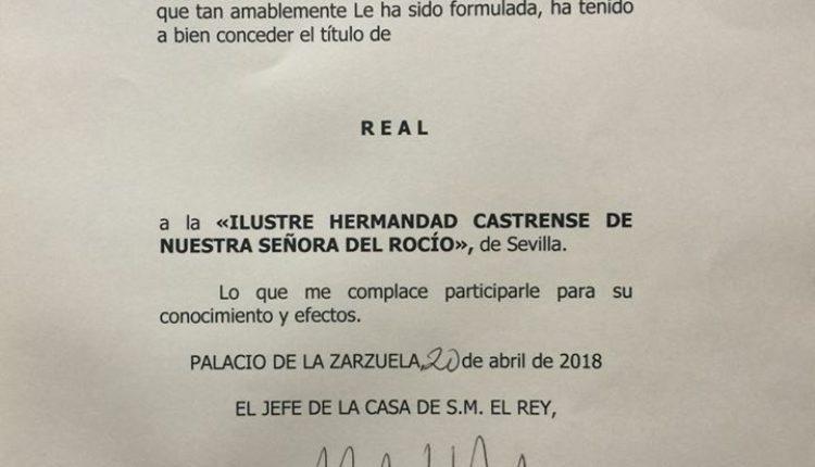 Hermandad Castrense del Rocío – La Hermandad es ya Real Hermandad
