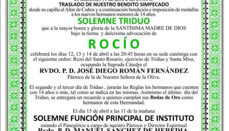 Hermandad de Dos Hermanas – Solemne Triduo y Pregón a cargo de d: Juan Miguel Martín Mena