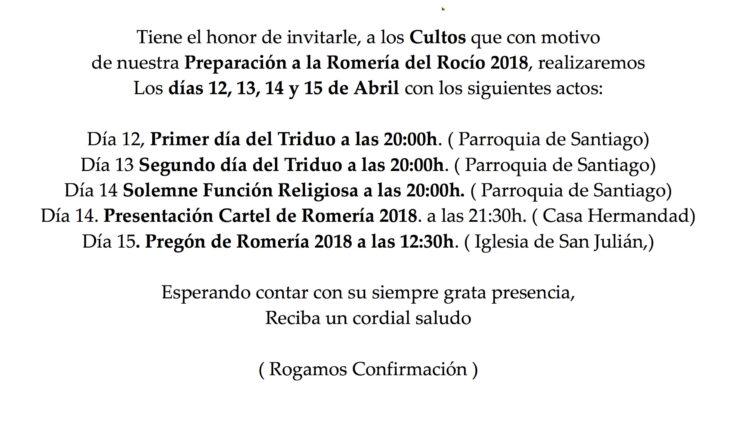 Hermandad de Málaga la Caleta – Actos y Cultos Preparatorios de la Romería 2018