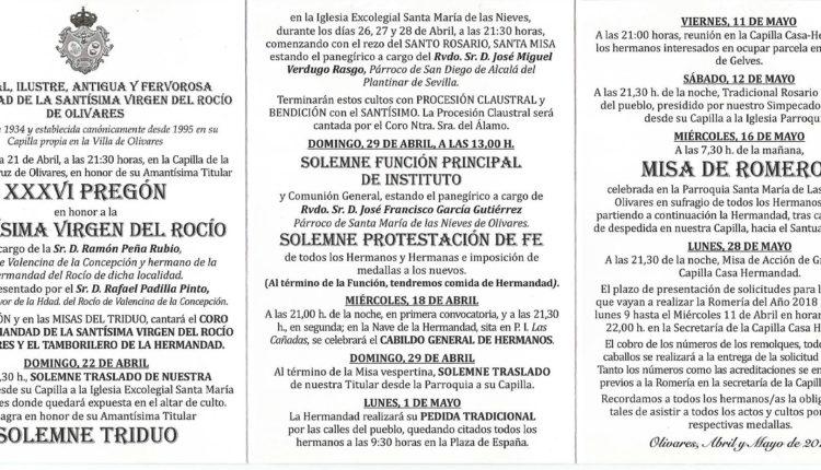 Hermandad de Olivares – Actos y Cultos Rocío 2018