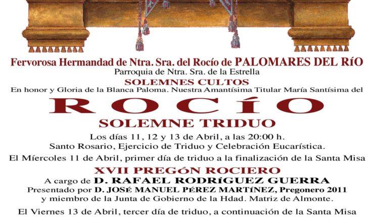 Hermandad de Palomares del Río – Solemne Triduo y Pregón a cargo de D. Rafael Rodríguez Guerra