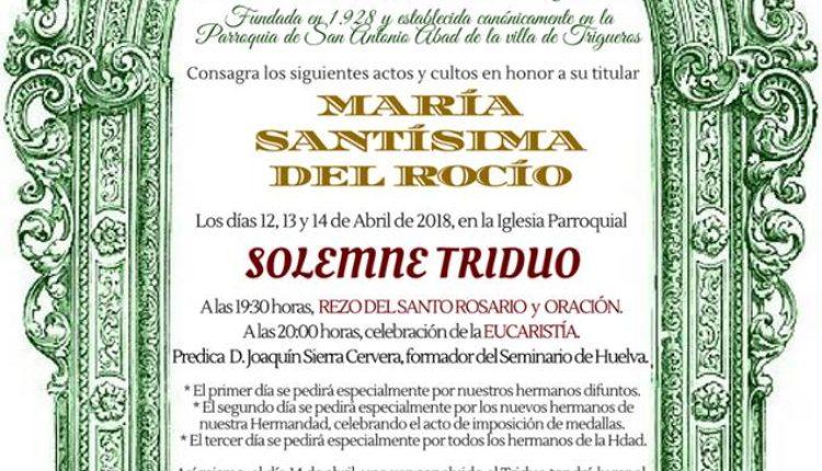 Hermandad de Trigueros – Solemne Triduo y Pregón a cargo de D. Fernando de la Torre