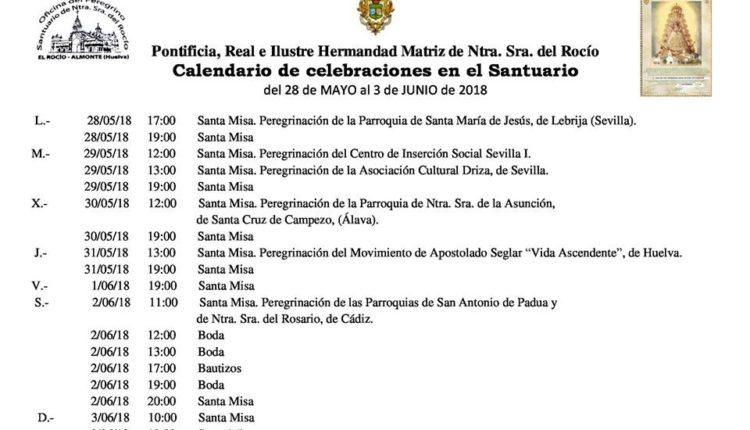 Calendario de Celebraciones en el Santuario del Rocío del 28 de mayo al 3 de junio de 2018