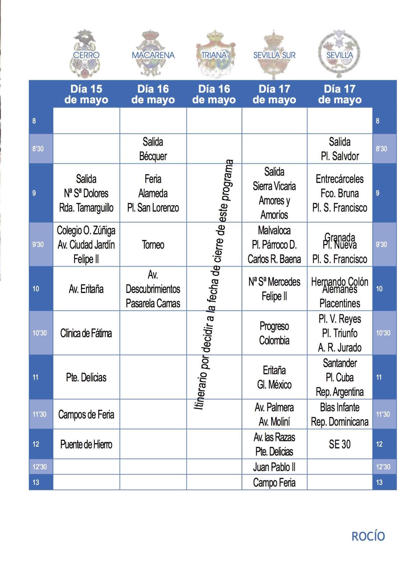 Itinerarios y horarios de las hermandades de sevilla 2018 - Horario merkamueble sevilla ...