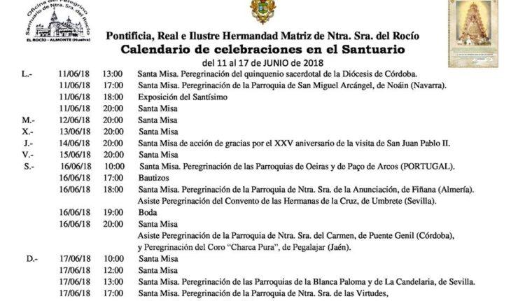 Calendario de Celebraciones en el Santuario del Rocío del 11 al 17 de junio de 2018