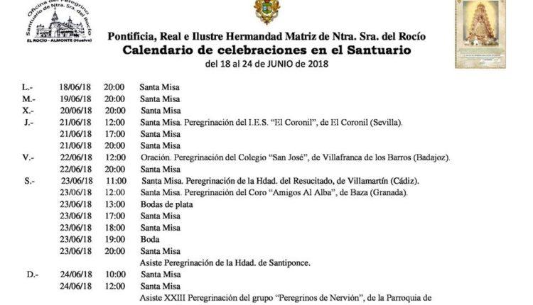 Calendario de Celebraciones en el Santuario del Rocío del 18 al 24 de junio de 2018