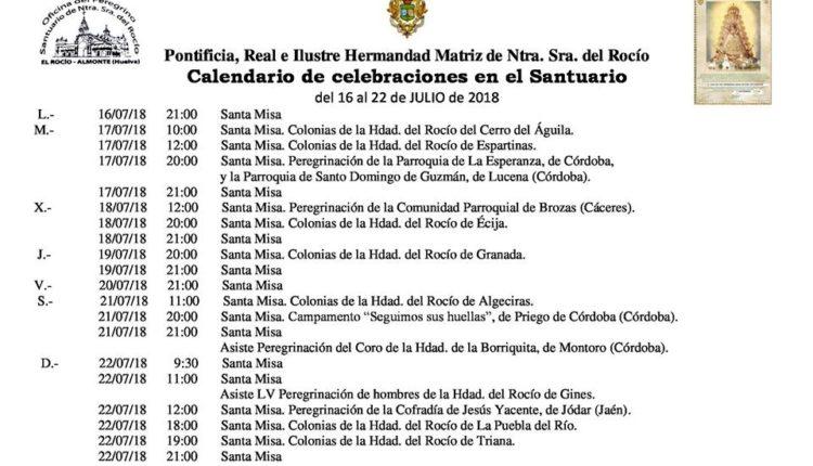 Calendario de Celebraciones en el Santuario del Rocío del 16 al 22 de julio de 2018
