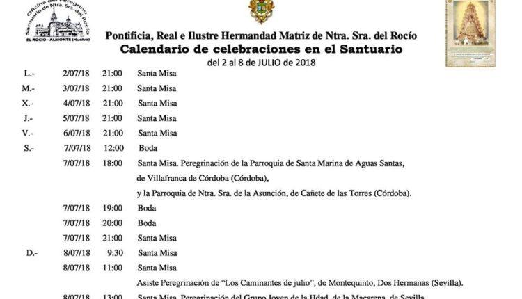 Calendario de Celebraciones en el Santuario del Rocío del 2 al 8 de julio de 2018