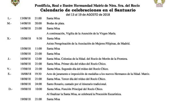 Calendario de Celebraciones en el Santuario del Rocío del 13 al 19 de agosto de 2018