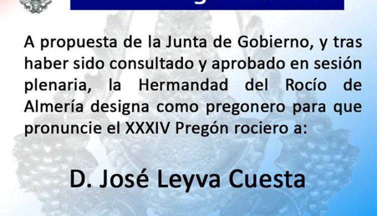 Hermandad de Almería – D. José Leyva Cuesta Pregonero del Rocío 2019