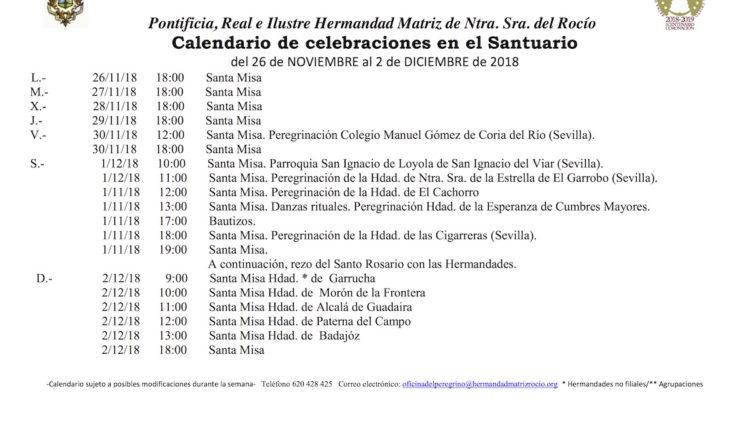 Calendario de Celebraciones en el Santuario del Rocío del 26 de noviembre al 2 de diciembre de 2018