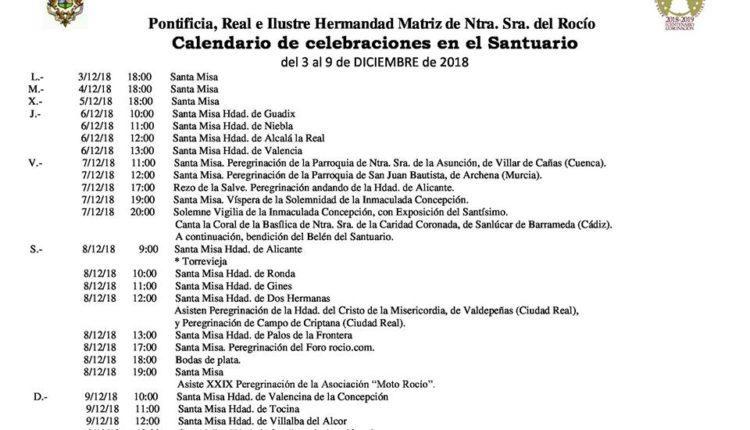 Calendario de Celebraciones en el Santuario de El Rocío del 3 al 9 de diciembre de 2018