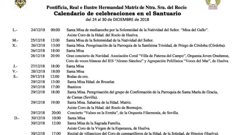 Calendario de Celebraciones en el Santuario del Rocío del 24 al 30 de diciembre de 2018