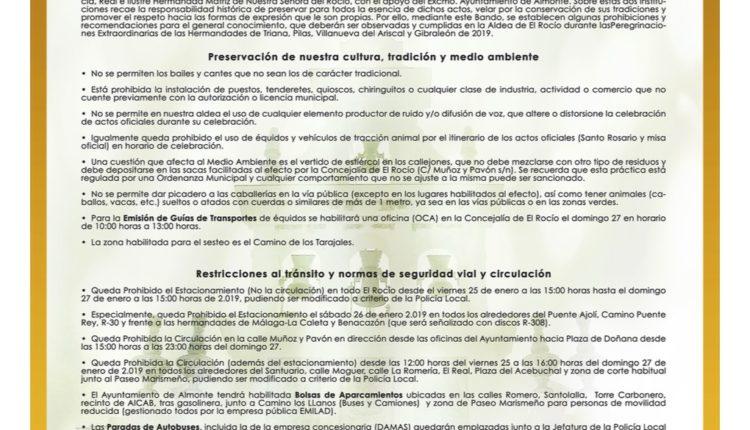 Bando Municipal sobre la Peregrinación Extraordinaria de Triana, Pilas, Villanueva del Ariscal y Gibraleón en enero de 2019