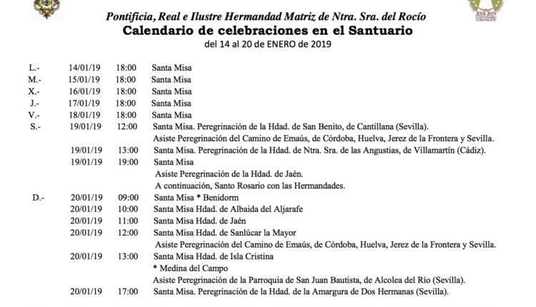 Calendario de Celebraciones en el Santuario del Rocío del 14 al 20 de enero de 2018