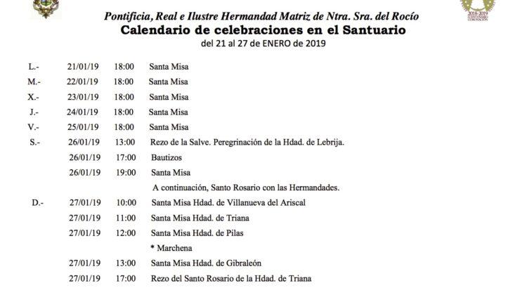 Calendario de Celebraciones en el Santuario del Rocío del 21 al 27 de enero de 2019