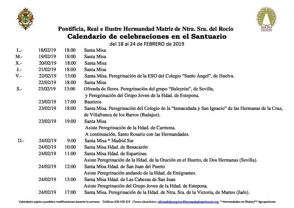Calendario Febrero 2019.Calendario De Celebraciones En El Santuario Del Rocio Del 18 Al 24