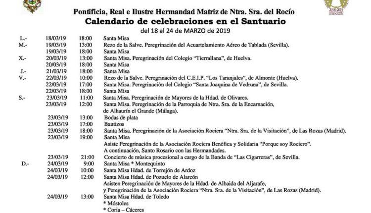Calendario de Celebraciones en el Santuario del Rocío del 18 al 24 de marzo de 2019
