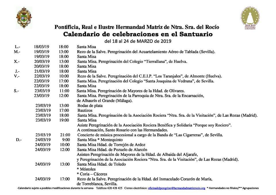 Calendario 18.Calendario De Celebraciones En El Santuario Del Rocio Del 18 Al 24