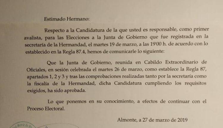 Candidatura de Martín Contreras a Presidente Matriz – Aprobada la Candidatura por la Matriz