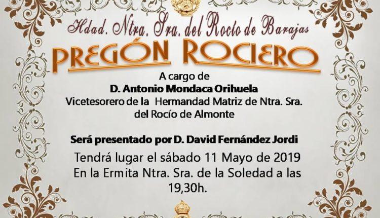 Hermandad de Barajas – D. Antonio Mondaca, Pregonero del Rocío 2019