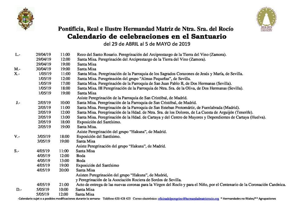 Calendario Abril Y Mayo 2019.Calendario De Celebraciones En El Santuario Del Rocio Del 29 De