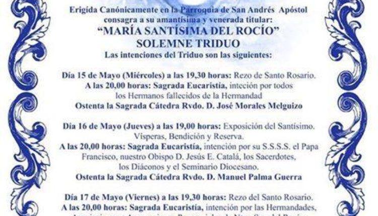 Hermandad de Torre del Mar – Solemne Triduo, Presentación de Cartel y Pregón Rociero a cargo de D. Manuel Vegas Vegas