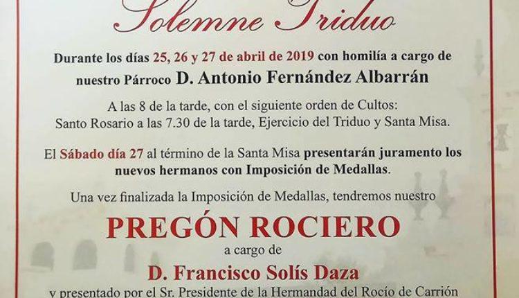 Hermandad de Villalba del Alcor – Solemne Triduo y Pregón a cargo de D. Francisco Solis Daza