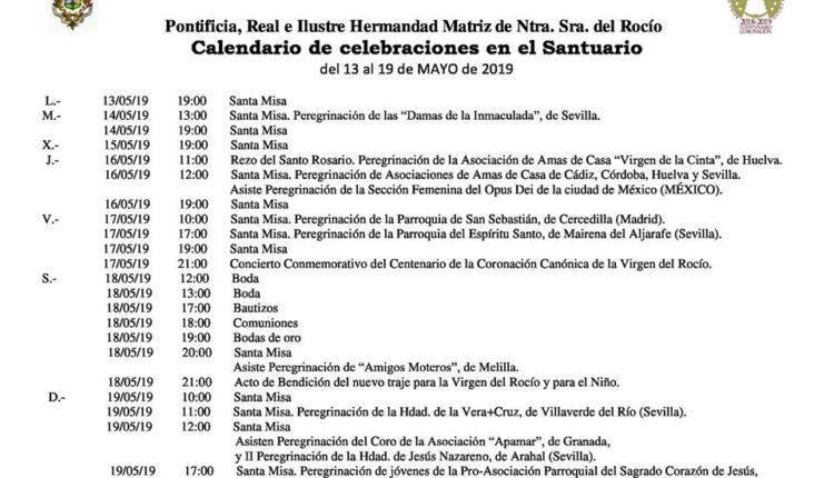 Calendario de Celebraciones en el Santuario del Rocío del 13 al 19 de mayo de 2019