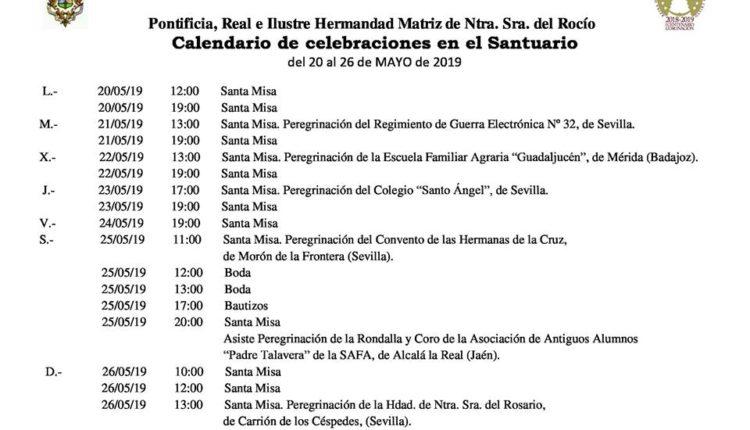 Calendario de Celebraciones en el Santuario del Rocío del 20 al 26 de mayo de 2019