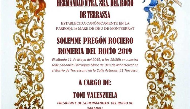 Hermandad de Terrassa – Solemne Pregón Rociero a cargo de Toni Valenzuela