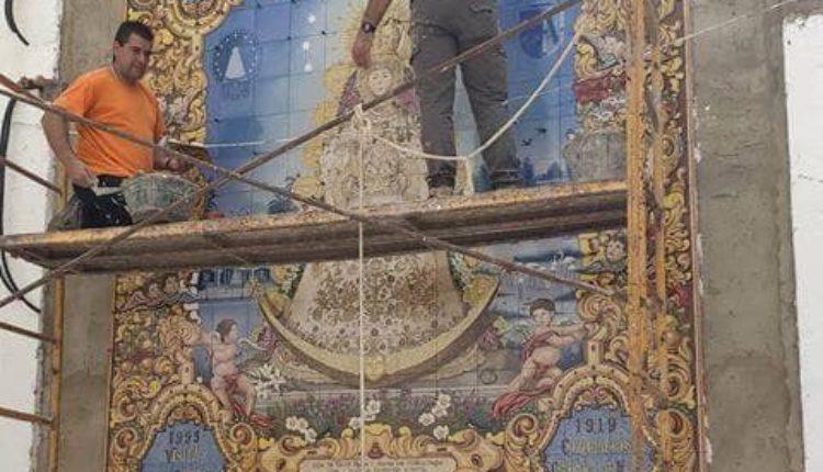 Bendición Retablo Cerámico Centenario Coronación de la Virgen del Rocío al Detalle por Javier Coronel