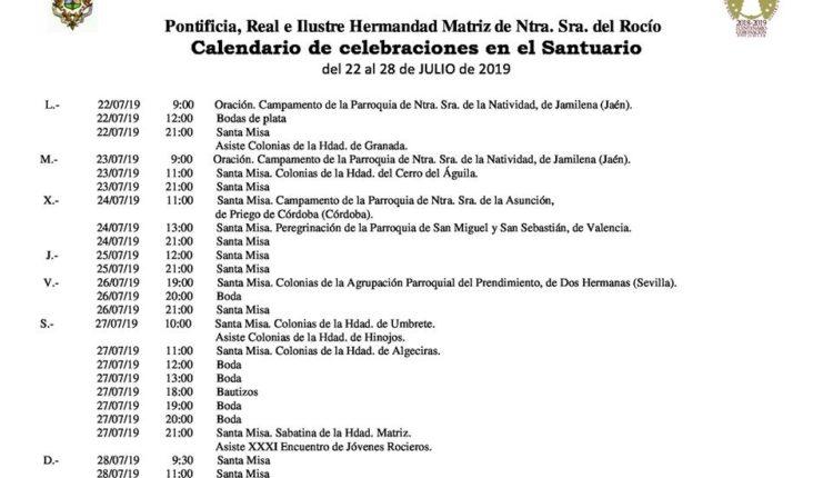 Calendario de Celebraciones en el Santuario del Rocío del 22 al 28 de julio de 2019