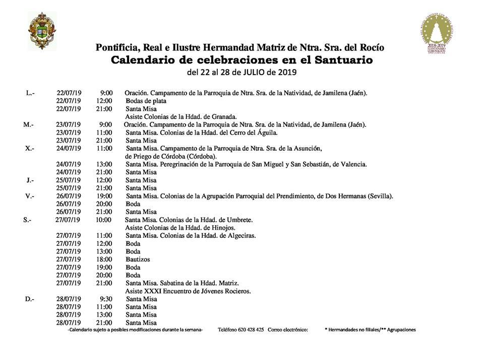 Julio Calendario.Calendario De Celebraciones En El Santuario Del Rocio Del 22 Al 28