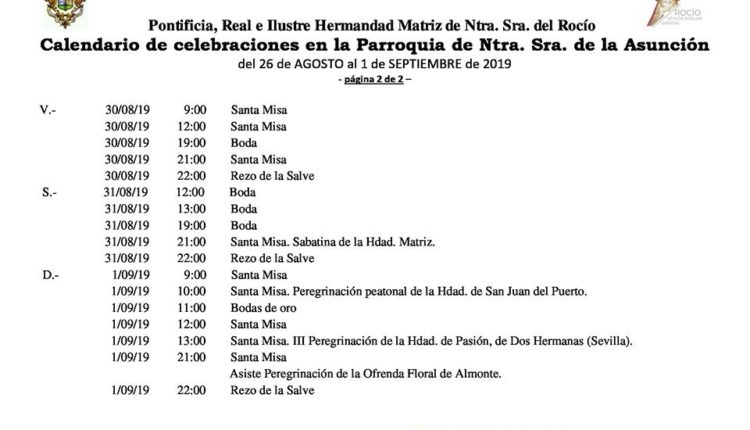 Calendario de Celebraciones en la Parroquia de la Asunción de Almonte del 26 de agosto al 1 de septiembre de 2019