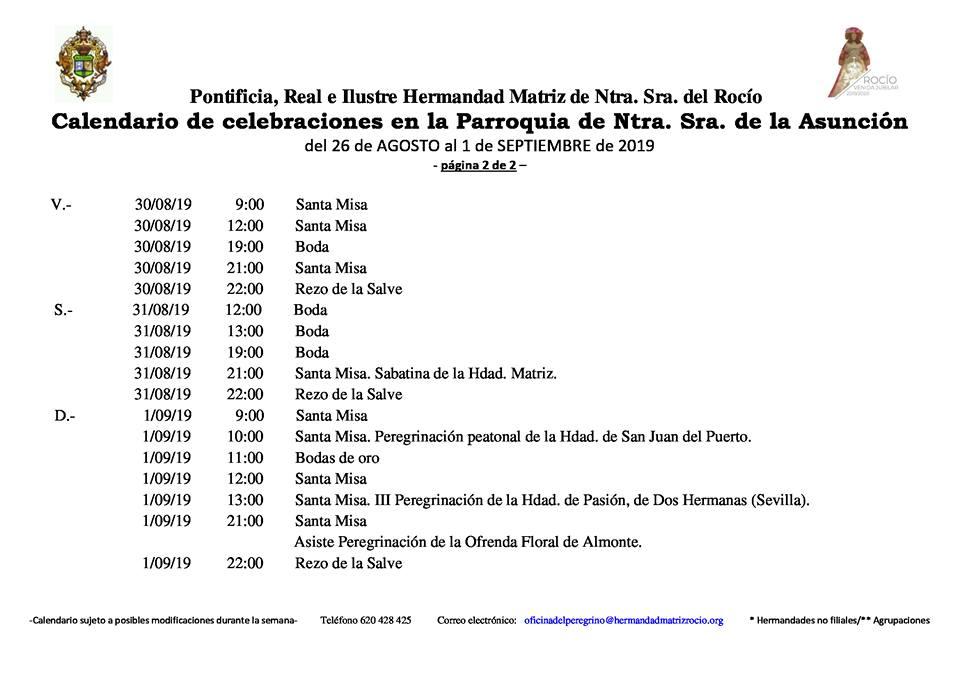 Calendario De Agosto Y Septiembre 2019.Calendario De Celebraciones En La Parroquia De La Asuncion