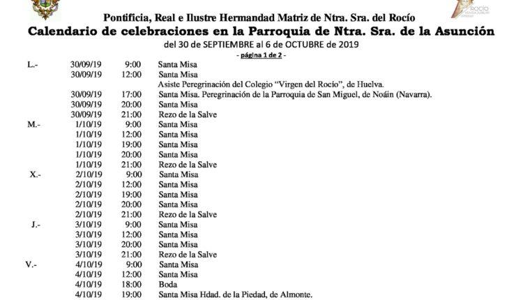 Calendario de Celebraciones en la Parroquia de la Asunción del 30 de septiembre al 6 de octubre de 2019