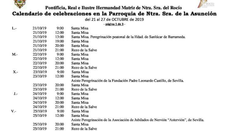 Calendario de Celebraciones en la Parroquia de la Asunción del 21 al 27 de octubre 2019