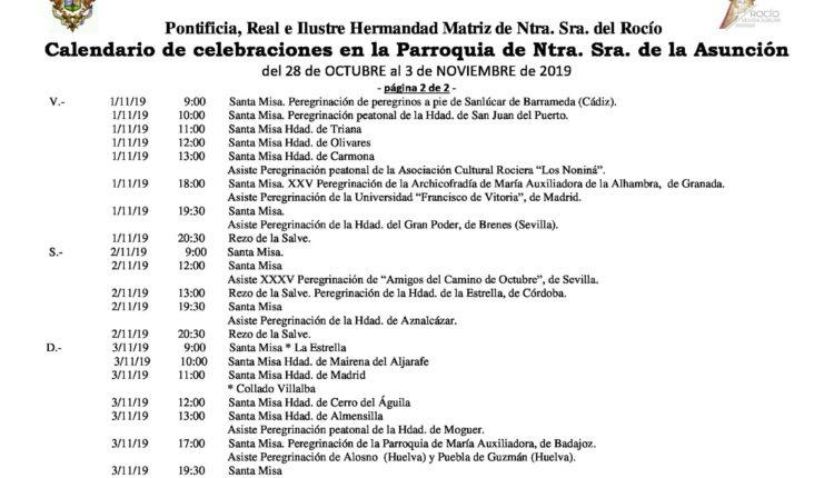 Calendario de Celebraciones en la parroquia de la Asunción del 28 de octubre al 3 de noviembre de 2019