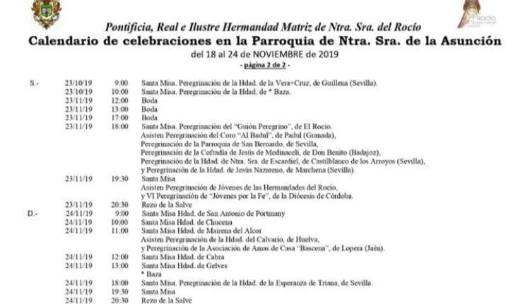 Calendario de Celebraciones en la Parroquia de Almonte del 18 al 24 de noviembre de 2019