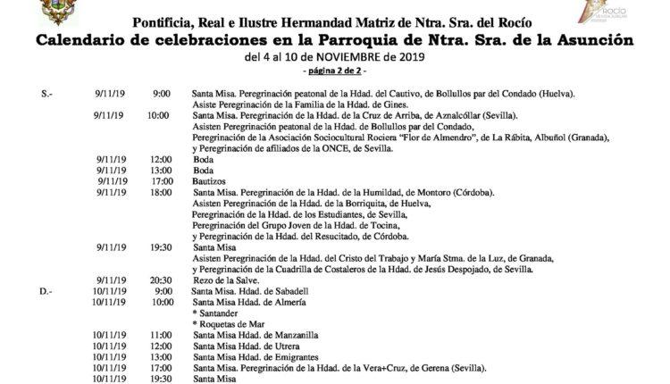 Calendario de Celebraciones en la parroquia de la Asunción del 4 al 10 de noviembre de 2019