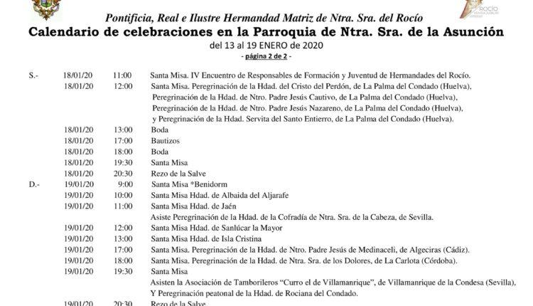 Calendario de Celebraciones en la Parroquia de la Asunción del 13 al 19 de enero de 2020