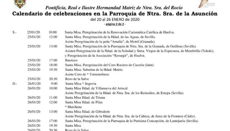 Calendario de Celebraciones en la Parroquia de la Asunción del 20 al 26 de enero de 2020