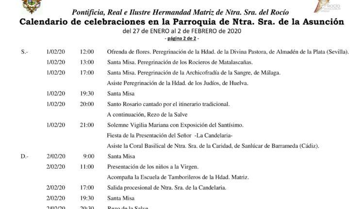 Calendario de Celebraciones en la Parroquia de la Asunción del 27 enero al 2 de febrero 2020