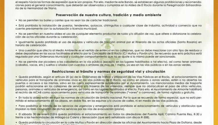 Peregrinación de Triana del 26 de enero de 2020 – Bando Municipal Restricciones Tráfico