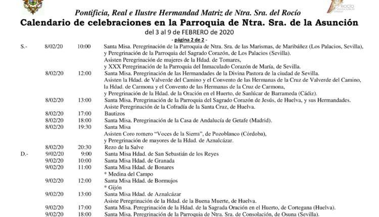 Calendario de Celebraciones en la Parroquia de la Asunción del 3 al 9 de febrero de 2020