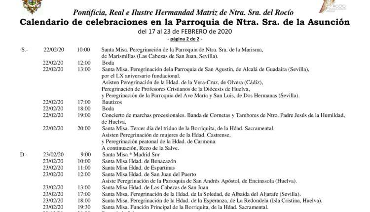 Calendario de Celebraciones en la Parroquia de la Asunción del 17 al 23 de febrero de 2020