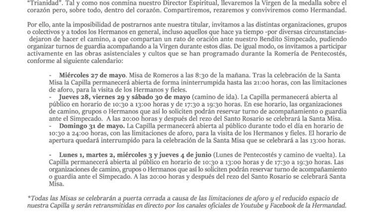 Hermandad de Triana – Comunicado Oficial Romería Pentecostés 2020