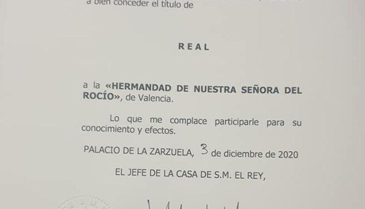 Hermandad de Valencia – Título de Real