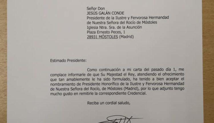 Hermandad de Móstoles – EL Rey Felipe VI Presidente Honorífico de la Hdad.